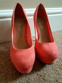 Orange High Heels - Size 6