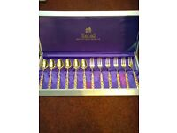 DESSERT CUTLERY 22CT GOLD PLATED