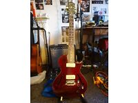 Mint Condition Epiphone Blueshawk Deluxe in Wine Red, Super Lightweight Electric Guitar+ACCESSORIES
