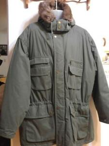 MENS 3X 56 58 Winter Coat Parka Jacket Khaki Green EUC Real Fur Trim Hood Smoke-Free Warm Tall