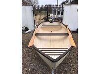 Boat, 10ft Clinker,rowing boat, fishing boat, Original gel, 4HP Evinrude outboard, trailer, oars