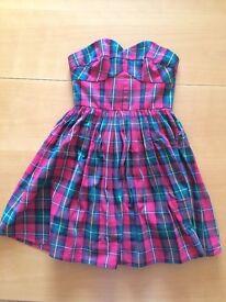 Excellent condition size 6 Jack Wills tartan strapless dress