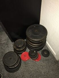175KG Plus Cast Iron Weights With Adjustable Squat Rack, Bench With Ez Bar