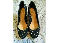 Navy Polka Dot Wedges