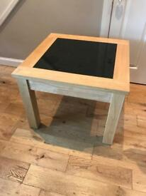 Beech wood with granite inlay side tables.