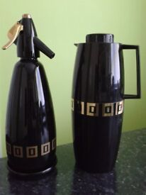 Retro Black and Gold BOC Soda Siphon with matching flask £20