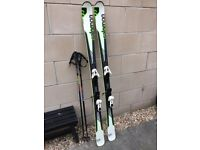 SALOMON 175cm Enduro skis, with poles and bag.