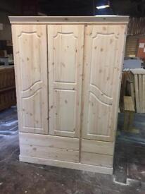New solid wood pine triple wardrobe colour Oak £225 price New solid wood pine triple wardrobe £225