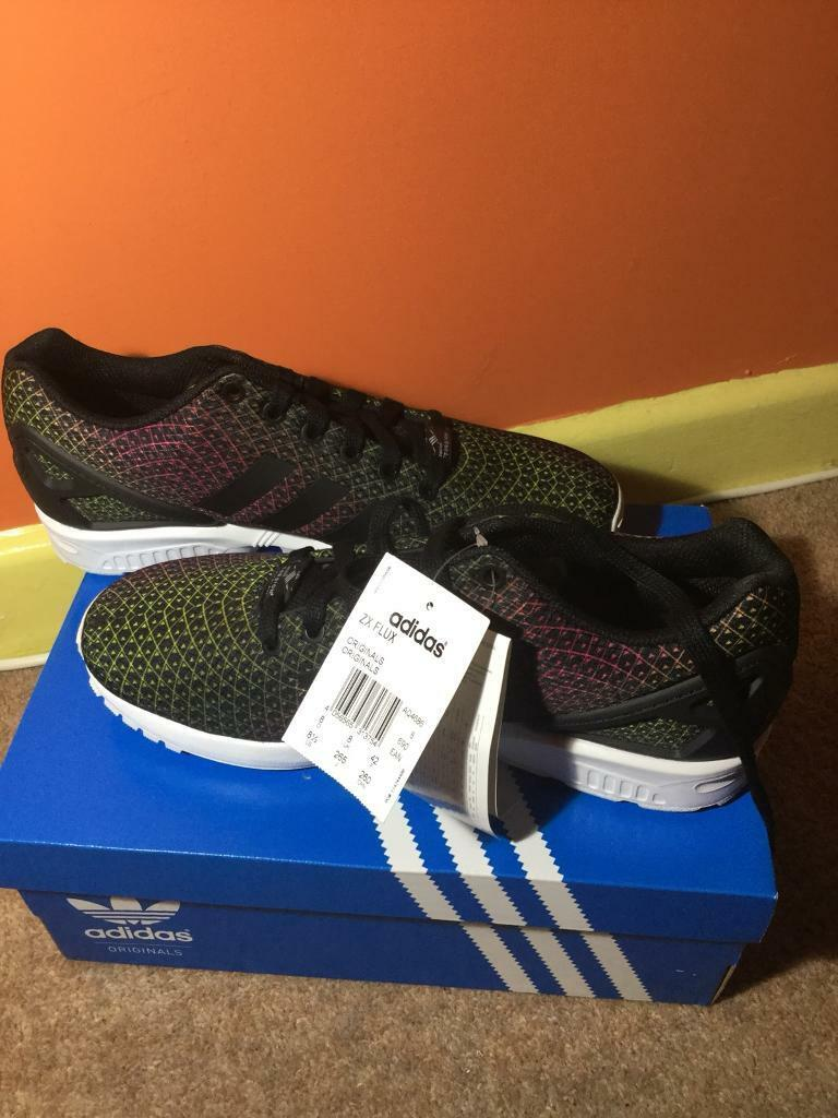 b687e9520b2bb Adidas Originals Mens ZX Flux Trainers White Core Black Equipment Pink size  8
