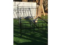 New black 4ft6 standard double bed frame with chrome top bar and finials