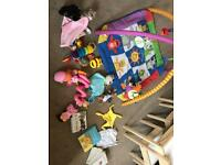 Baby play gym, Lamaze & peter rabbit toys, comforters, books bundle