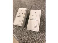 Powerline Pass Through Ethernet Homeplug Adapters (Pair)