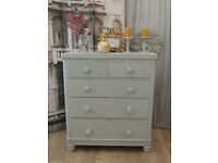 Beautiful shabby chic Victorian chest of drawers/tallboy by Eclectivo