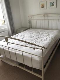 Cream metal king size bed frame