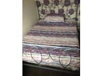 Ornate silver framed bed and mattress
