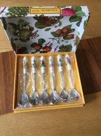 Portmeirion Pomona set of 6 tea spoons