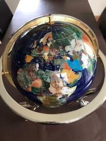 Lapis Lazuli globe and brass stand.