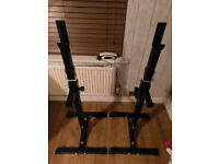 Adjustable Squat Stands with Spotters