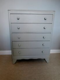 Vintage Chest of 5 drawers deco painted beige grey