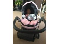 Silver cross child pram with doll, potty, nappies, bottle and change bag