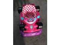 girls baby walker pink racing car