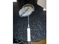Olympus sport BIS badminton racquet in silver with white taped handle