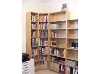 Set of IKEA Billy Oak effect shelves, including corner fixings