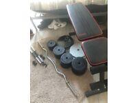 65kg adjustable dumbbells set, adjustable bench, curly bar, adjustable barbell.
