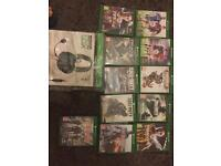 Some Xbox one Brand new games and turtle beach headset
