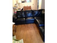 Black genuine soft leather corner sofa