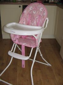 Pretty pink Red Kite highchair.Little used,so as new really.