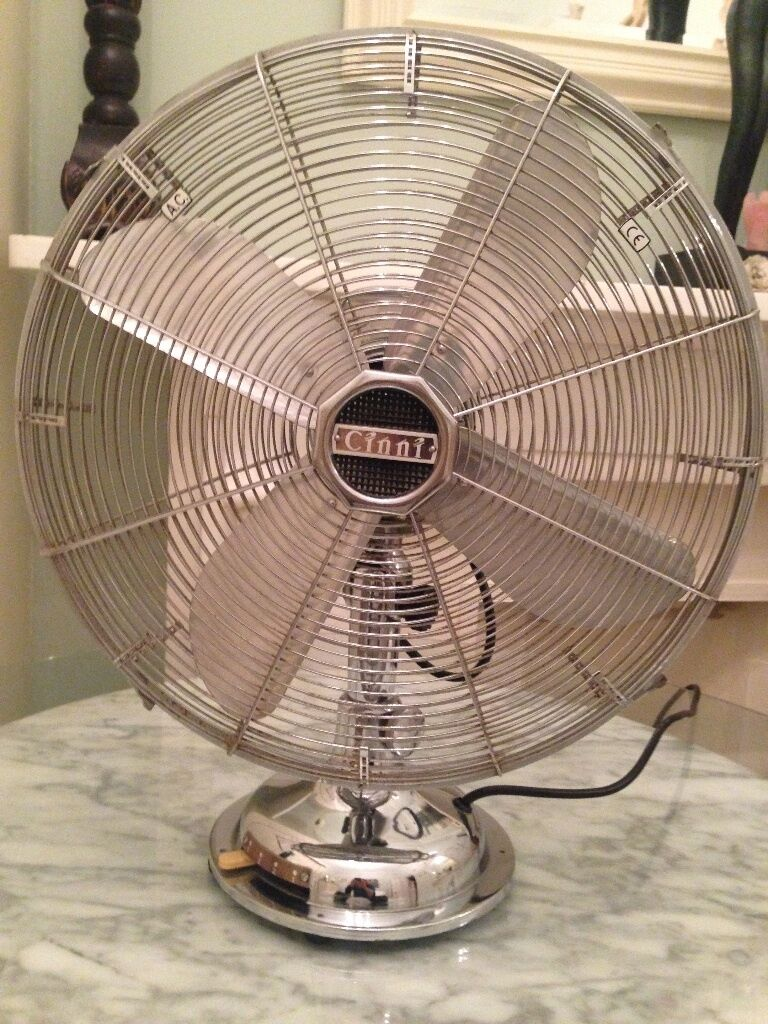 Rare Limited Edition Chrome Vintage Retro Style Cinni Table Fan 45cm Perfect Working Order