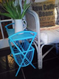 fab 70's vintage cane bamboo turquoise blue magazine record rack holder side occasional coffee table