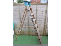 Vintage wooden folding ladders from Rowntree & co York 7 ft ladders
