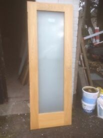 oak glass doors