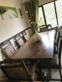 Old charm solid country oak dining table 7 ft and 6 chairs and 2 carver chairs