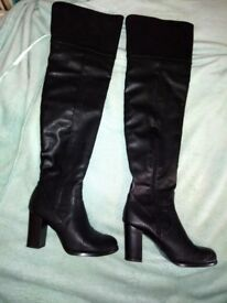 Black leather thigh high boots size 4