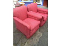 Fine Comfy Pair of Vintage Club Easy Fireside Armchairs