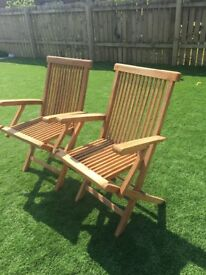 6 Solid Wood Folding Deck Chairs