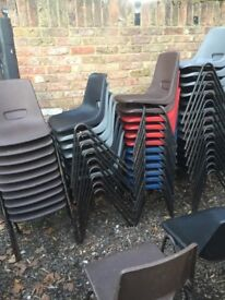 Around 45 stackable chairs used
