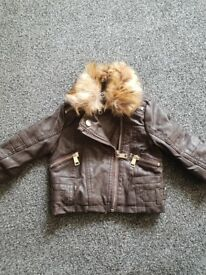 0 - 3 mths river island brown leather jacket only worn a few times