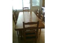 6 seats pine wood kitchen table