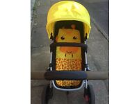 Features and benefits for Mothercare Xpedior Pram and Pushchair Travel System Package - yellow