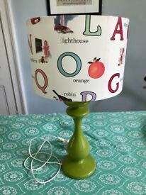 Alphabet lamp shade and base.green.nursery decor.vintage style.