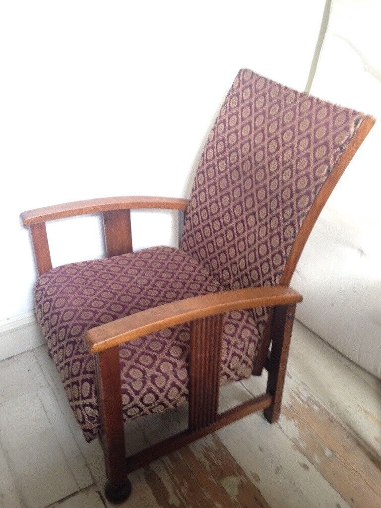 Bargain Good Condition Vintage Oak Wood Recliner Chair 1920 S 1930