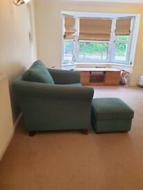 Teal blue Love Seat and foot stool