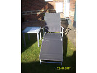 REDUCED TO £32,BLACK TEXTILENE WITH POWDER COATED FRAME SUN/GARDEN BED./LOUNGER