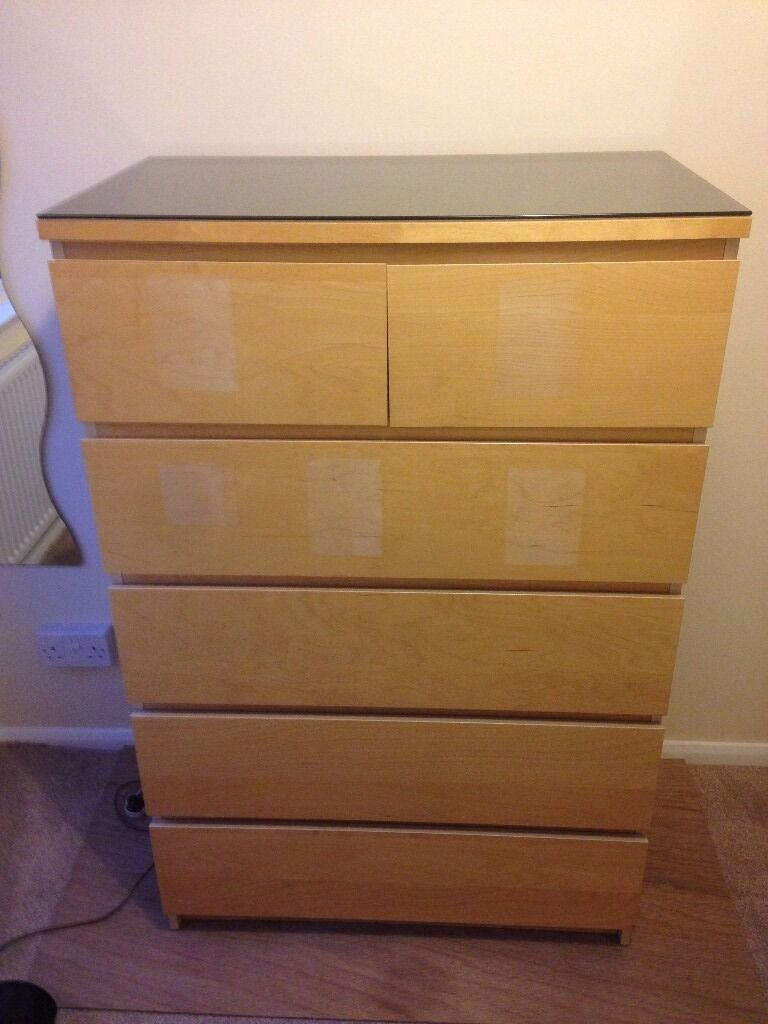Ikea Malm Chest Of 6 Drawers With Smoked Glass Top In