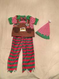 Christmas Elf Fancy Dress Costume Age 2-3
