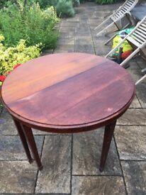 2 x half moon antique tables